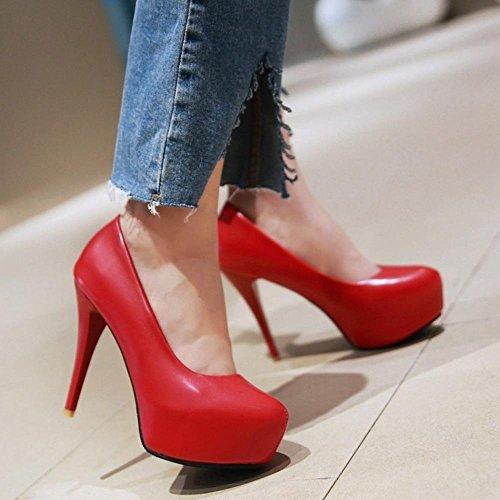 COOLCEPT Femmes Mode Talon Aiguille Talons hauts Escarpins Slip on with Plate-forme Extra Sizes Rouge