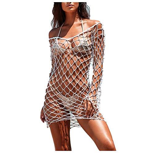Xvgjdz Aushöhlen Bikini Knit Vertuschungen Open Back Langarmkleid Beachwear Badeanzug sexy lockeres Häkelkleid (Weiß, XL) -