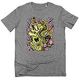 Pushertees-Store - T-Shirt Herren Grey Melange - The Sakura Falls - Chilling Designs - Skull - Snake - Flowers - Tattoo - Horror - Gothic - Evil - Fear