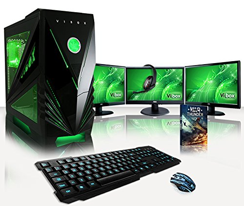 VIBOX Warrior Paket 7W Gaming PC Computer mit 3x Monitor, 4,0GHz AMD FX Quad-Core Prozessor, Nvidia GeForce GTX 1060 Grafikkarte, 16 GB RAM DDR3, 1 TB Festplatte, Windows 10