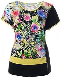 f017241acaaba2 Chalou T-Shirt mit Blumen-Muster für Damen ohne Ärmel Schwarz Gelb Shirts  Große