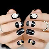 echiq Bright UV-False Fake Nails 3D Star Gems Schwarz Transparent French Nail Tipps Full Cover Wear Nägel für Home Office Braut Sommer