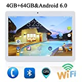 10 Pulgadas Tablet PC Android 6.0 4 GB de RAM 64GB ROM Octa Core 8 núcleos de Doble Cámaras 5.0MP 1280 * 800 IPS (White)