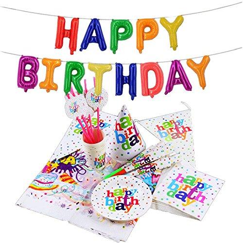 Geburtstag Party Geschirr, 1Mütze, 10Tassen, 6Trinkhalme, 20Stück Papier Handtücher, 10Teller, 10PENNANTS, 1Tischdecke, 6Hörner, 40,6cm Happy Birthday Ballon Banner