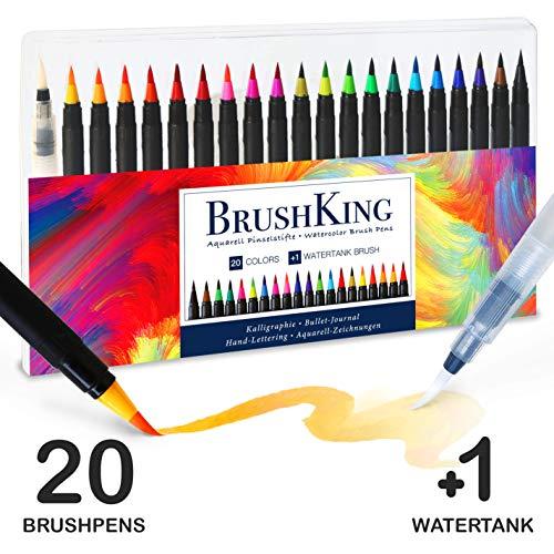BrushKing - Brush Pen Set Pinselstifte. Pinselstift-Set mit 20 strahlenden Farben und einem...