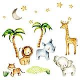 Little Deco Kinderbilder Dschungeltiere I S - 67 x 42 cm (BxH) I Wandtattoo Kinderzimmer Junge Deko Babyzimmer Junge Wandsticker Baby Bilder Wandaufkleber DL189
