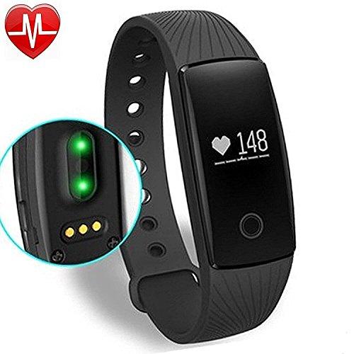 Fitness Armband,Fitness-Tracker Activity Tracker Sport-Armband mit Schrittzähler,Herzfrequenz-Monitor, Schlafanalyse Smartband (Schwarz)