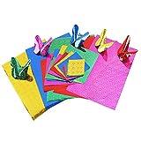 Kentop Origami Lot DE 40 Feuilles Pliantes en Papier pour Bricolage Artisanal Doré/argenté 15 x 15 cm Couleur aléatoire