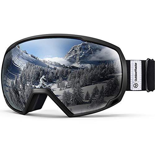 OutdoorMaster Premium Skibrille, Snowboardbrille Schneebrille OTG 100% UV-Schutz, helmkompatible Ski Goggles für Damen&Herren/Jungen&Mädchen(Schwarzer Rahmen + VLT 10.1% graue Gläser)