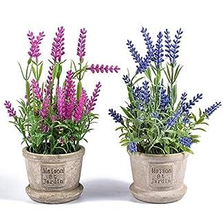 Ecosides – Juego de 2 Mini Plantas Artificiales de Lavanda para decoración del hogar