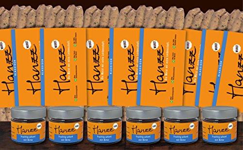 Hanzz Wurst klassische Bratwurst – Grillwurst + Birnen Dip: 36x Gourmet Wurst plus 6 x Hanzz Tunke