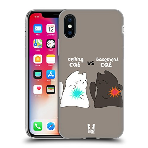 Head Case Designs Que D'autre Chat Chat De Plafond Contre Chat De Sous-Sol Étui Coque en Gel molle pour Apple iPhone 5c Bataille Épique