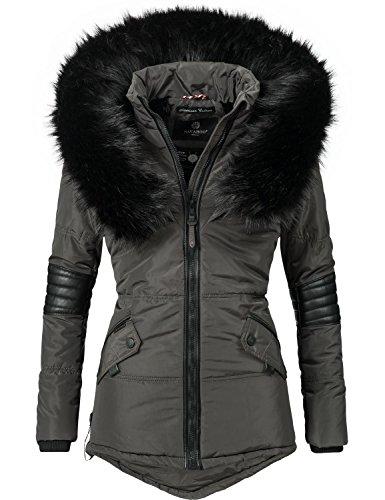 Navahoo nirvana giacca invernale da donna con cappuccio in pelliccia sintetica nera grigio antracite xxl