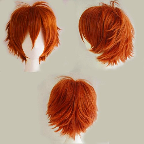 S-noilite Unisex Short Straight Hair Wig Anime Party Cosplay Warped Full Wigs for Women Men Boy Girls (Dark Orange) by S-noilite (18 Monate Girl Kostüme)