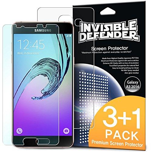 Pellicola Protettiva dello Schermo Galaxy A3 2016 - Invisible Defender [3 Anteriore +1 Indietro Gratuite/Super-Trasparente] Premium HD Super-Trasparente Film con Sostituzione in Garanzia a vita per Samsung Galaxy A3 2016