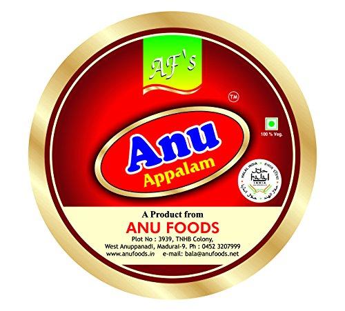 Anu Appalam Papad Plain Indian Papad,400g – Pack of 2