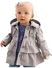 IINIIM Enfant Filles Mode Manteau Trench à Capuche Gris Manches Longues Volants Veste Coton Bébé Printemps Automne Anti Vent Anti Froid 6 Mois-5 Ans