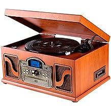 Lauson CL146 - Tocadiscos Bluetooth de Madera - Función Encoding, CD, Cassete, Radio, USB, mp3,  3 velocidades, 33/45/78 RPM con Altavoces Incorporados