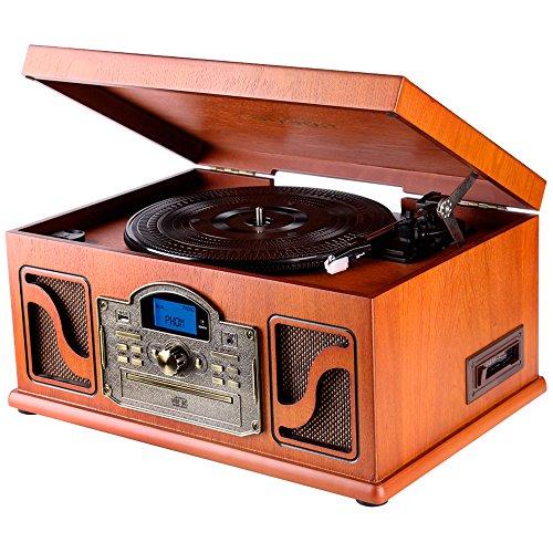Lauson-CL146-Tocadiscos-Bluetooth-de-Madera-Funcin-Encoding-CD-Cassete-Radio-USB-mp3-3-velocidades-334578-RPM-con-Altavoces-Incorporados
