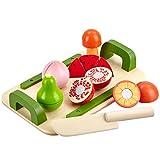 Mias Spielzeug Schneidebrett-Set mit 5 schneidbaren Früchten und Messer aus Holz - Schneideobst mit Klett-Verbindung - Holzobst / Holz-Spielzeug / zum Schneiden üben / teilbar