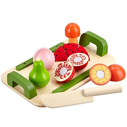 Mias Spielzeug Schneidebrett-Set mit 5 schneidbaren Früchten und Messer aus Holz - Schneideobst mit Klett-Verbindung - Holzobst / Holz-Spielzeug / zum Schneiden üben / teilbar - (Spielen Küche Baby)