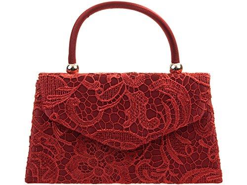 Fi9® BNWT-Borsa vintage da donna, con motivo floreale, ideale per matrimoni, feste, con scritta: Evening Handbag Purse-Borsetta a tracolla Multicolore (Bordeaux)