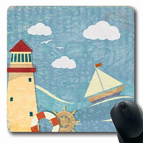 Luancrop Mauspads für Computer Leuchtfeuer Blaues Meer Vintage Yacht Leuchtturm Rad Vogel Boot Segelboot Malerei Szene Nautisches Design Himmel rutschfeste Längliche Gaming-Mausunterlage -