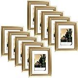 EUGAD 10er Set Bilderrahmen Fotogalerie, 9408-10, Holz Rahmen, mit Glasscheibe, mit Passepartout, Artos Gold, 10x15 cm