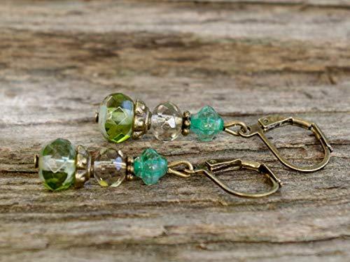 Feine Vintage Ohrringe mit Glasperlen - grün, grau & bronze