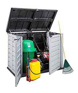 Kreher Mülltonnenbox für 2 Tonnen/240 Liter, abschließbar, Deckelöffnung mit Gasdruckfeder. aus robustem Kunststoff. Breite 155,8 cm, Tiefe 90,4 cm, Höhe 116,6 cm