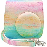 Ablus Instant Camera PU Leather Case Bag For Fujifilm Instax Mini 8 8+ 9 Instant Film Camera With Shoulder Strap (Rainbow)