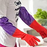 #10: Woogor Rubber Latex Household Kitchen LONG Gloves, FREE Size - For Laundry, Dish-washing, Scrubbing Floors, Gardening etc
