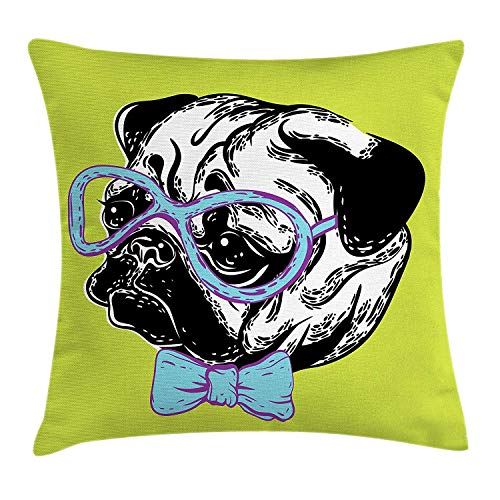 Yinorz Pug Throw Pillow Cushion Cover, Cute Dog with a Bow Tie and Nerdy Glasses on Green Shade Backdrop, Decorative Square Accent Pillow Case, 18 X 18 inches, Green Pale Blue Lavender