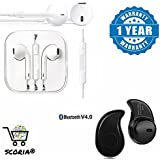 SCORIA® Mini Style Wireless Bluetooth Headphone S530 1pcs In-Ear V4.0 Stealth Earphone Phone Headset Handfree With Stereo Earphone Hands-Free Mini Size Headset With Mic And Volume Controller 3.5Mm Jack Compatible For Samsung Galaxy C9 Pro (64 GB,Black
