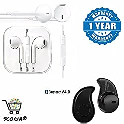 SCORIA Mini Style Wireless Bluetooth Headphone S530 1pcs In-Ear V4.0 Stealth Earphone Phone Headset Handfree With Stereo Earphone Hands-Free Mini Size Headset With Mic And Volume Controller 3.5Mm Jack Compatible For Samsung Galaxy S8 Plus (Midnight Black, 128 GB)