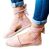 OYSOHE Damen Flat Lace Up Espadrilles Sommer Chunky Urlaub Sandalen Schuhe Strap Schuhe Sandalen Stroh Leinen Riemen Schuhe