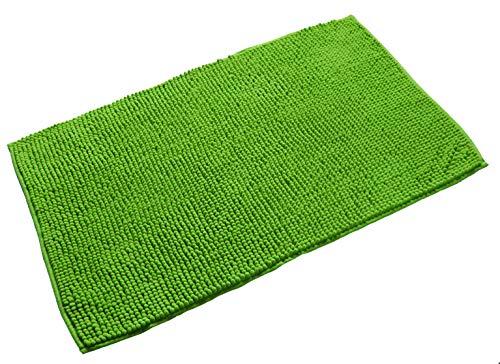 Quantum Interior Chenille Badematte 60x90 - moderner Microfaser Badvorleger in Trendfarben - schnell trocknend (Grün)