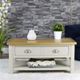 Dorset Grey Oak Coffee Table | 2 Drawer Living Room Storage Table | Stone Grey