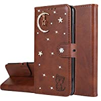 Mylne Diamond Wallet Case for Samsung Galaxy A21,3D Moon Star Cat Design PU Leather Flip Magnetic Closure Card Slots Stand Shockproof Full Protective Cover,Brown