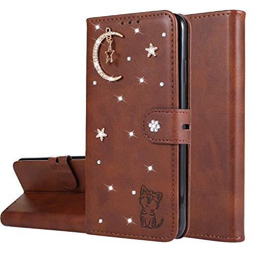 Miagon Diamant Brieftasche Hülle für Xiaomi Redmi Note 8 Pro,Mond Star Katze 3D Design PU Leder Flip Handyhülle Klapphülle Klappbar Silikon Bumper Schutzhülle,Braun