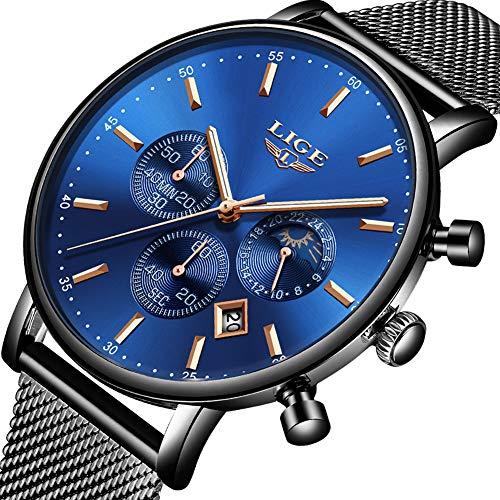 Uhren Herren,LIGE Herren Wasserdicht Chronograph Analog Quarz Uhr Mond Phase Mode Casual Kleid mit Edelstahl Milanese Mesh Armband LG9894C Blau