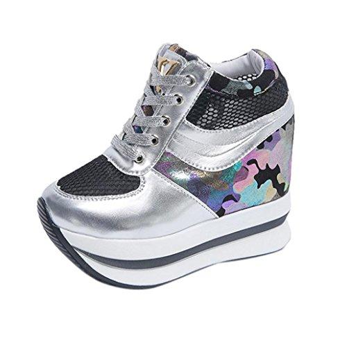 Calzado de Mujer con Aumento de Altura Zapatos Casuales Zapatos holgazanes de Plataforma Zapatos Individuales Por ESAILQ