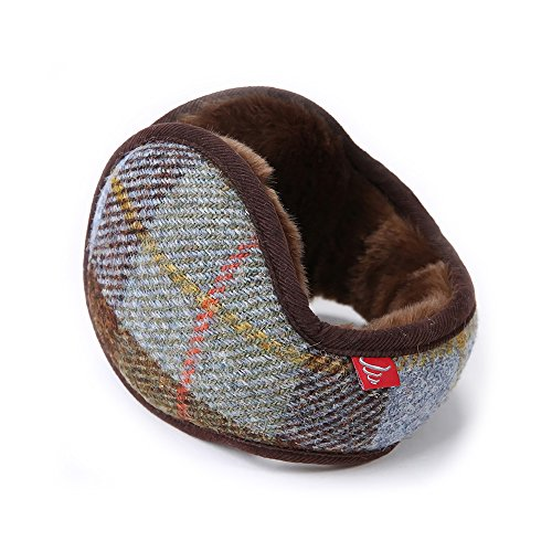 Gifts Treat Scaldini per le orecchie, Cuffie unisex invernali pieghevoli posteriori Indossate elegante plaid classico di lana con paraorecchie accogliente