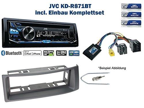Renault Megane / Scenic Autoradio Einbauset *Grau* inkl. JVC KD-R871BT und Lenkrad Fernbedienung Adapter