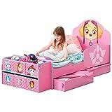 TW24 Jugendbett 140cm x 70cm - Bett - Kinderbett Paw Patrol mit Schubladen + Regal Paw Patrol rosa