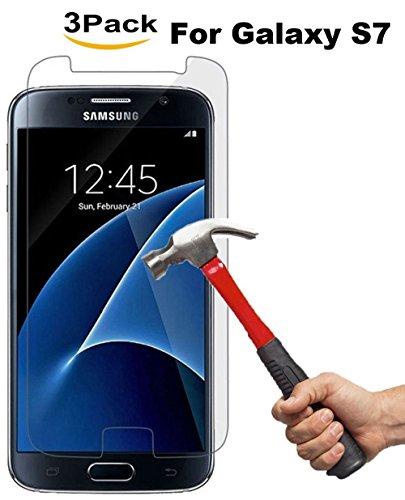 Film de protection en verre trempé Galaxy S7, Film de protection en verre Kimpson pour la dureté Samsung Galaxy S7,9H, sans bulle, conviviale.[3-Pack]