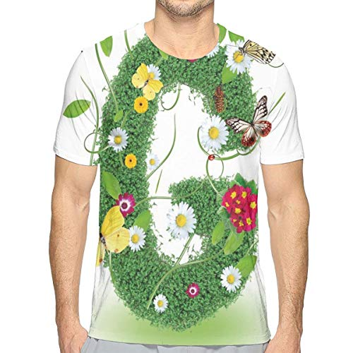 3D Printed T Shirts,Spring Inspired Foliage Nature Theme Butterflies and Papilios Wildflowers G Symbol S -