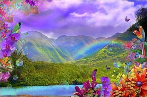 Posterlounge Holzbild 180 x 120 cm: Haliva Valley Rainbow Flowers von Alixandra Mullins/MGL Licensing