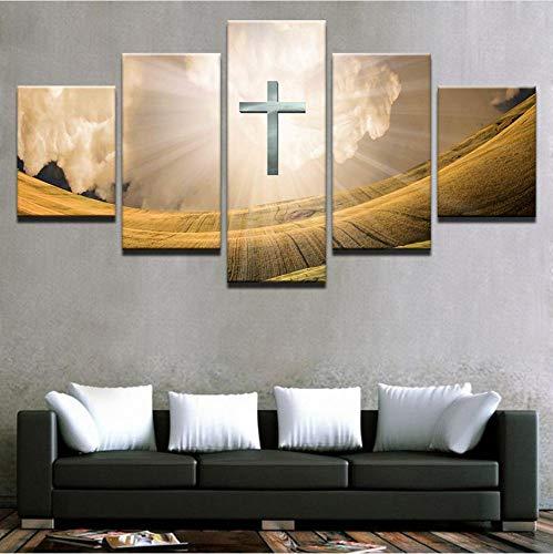 lar Für Wohnzimmer Wohnkultur 5 Stück Neues Leben In Christus Malerei HD Drucken Kreuz Bilder Wandkunst 40x60cmx2 40x80cmx2 40x100cmx1 ()