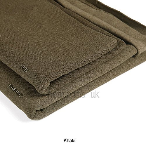 Neotrims Knit Rib Fabric & Cuffs Sweatshirt-Stoff für Kapuzenpullover, zum Schneidern, Basteln, in 17 Farben, von europäische Schulen anerkannt und getestet, gebürstet, von Natur aus elastisch, Textil, khaki, 10 m (Schärpe Khaki)